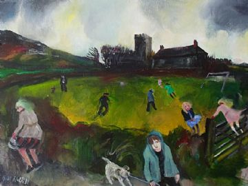 Gill Watkiss Original Oil Painting A Game By Pendeen Church Cornwall